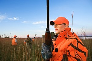 woman, hunting, rifle