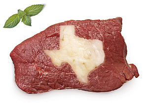 Roast beef meat and fat shaped as Texas.(series)